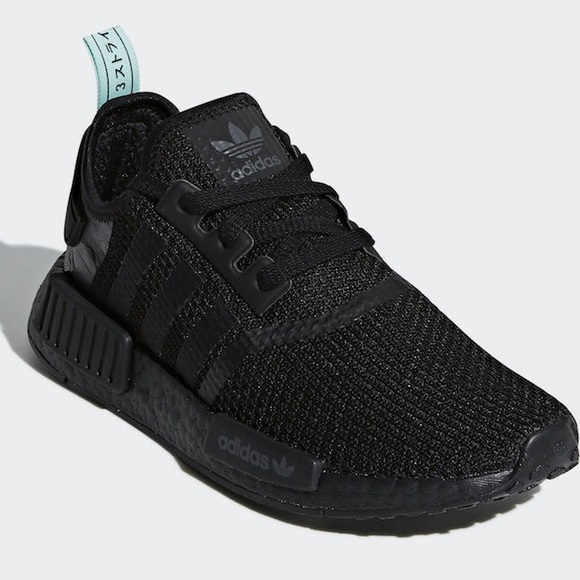 official photos 81747 616d6 Adidas NMD R1 black on Black with mint